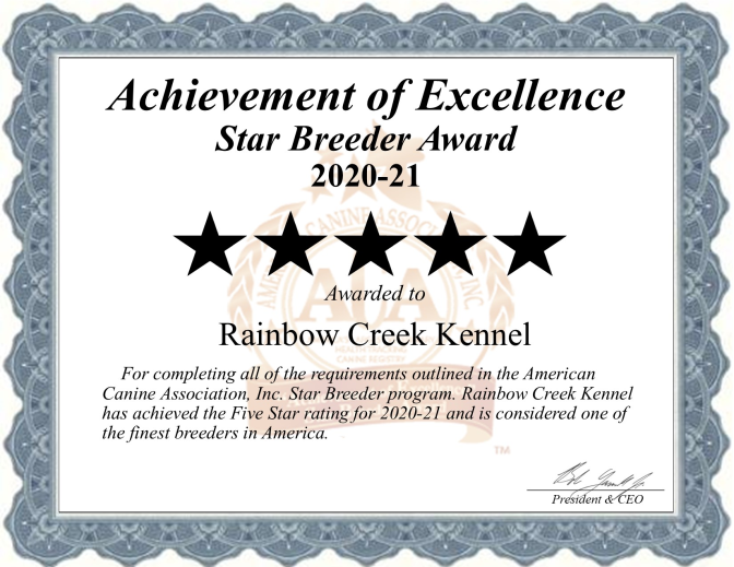 Rainbow, creek, kennels, dog, breeder, rainbow-creek, dog-breeder, south butler, ny, new york, for, sale, puppies, puppy, pups, inspected, inspection, star breeder certificate 2020-21